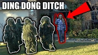 DING DONG DITCH IN GHILLIE SUITS PRANK!! (what happened will blow your mind)