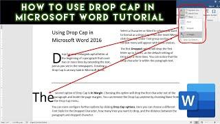 How To Insert Drop Cap In Microsoft Word 2016 Tutorial | The Teacher
