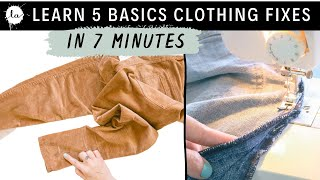 LEARN BASIC CLOTHING ALTERATIONS COURSE - IN 5 MINUTES- Hem Pants Tutorial / Dress, EASY SEWING TIPS