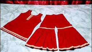 😍(ফুল ভিডিও)Gharara/Sharara and kameez/top cutting and stitching.Step by step,