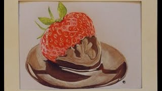 Strawberry in Chocolate Realistic Speed Drawing ( Chocolate - James Blunt)