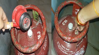 How to open a gas cylinder cap in telugu   how to fix gas cylinder with regulator in telugu