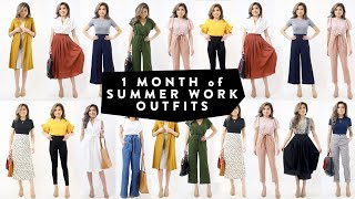 1 MONTH Of Summer WORK OUTFIT Ideas | Business Casual Work Office Wear Lookbook | Miss Louie