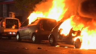 Raw: Post-Election Unrest, Cars on Fire in Paris