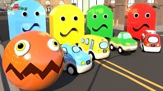 Learning Colors PAC MAN city Vehicle School Bus Fire truck cute Police car Play for kids car toys