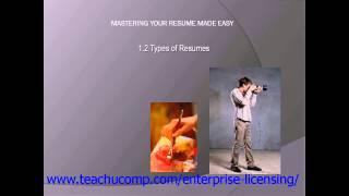 Resume Skills Training- Resume Writing Tutorial - Types of Resumes Lesson