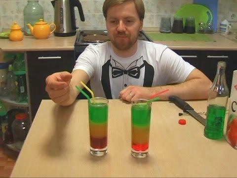 Как сделать СЛОИСТЫЙ коктейль Перевёрнутый светофор многослойный