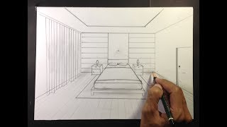 How To Draw A Simple Bedroom In One Point Perspective #2