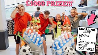 FIRST ONE TO complete the shopping list challenge WINS £1000!!