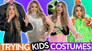 TRYING ON KIDS HALLOWEEN COSTUMES!!
