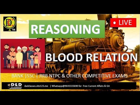 11 AM || REASONING || BLOOD RELATION  BY SIR NEERAJ || BANK SSC RRB NTPC