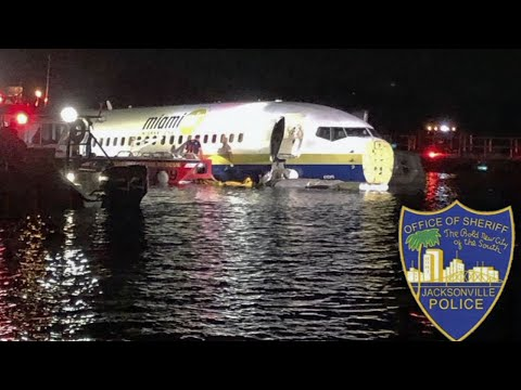 A charter plane carrying 143 people and traveling from Cuba to north Florida ended up in a river at the end of a runway Friday night, though no critical injuries or deaths were reported, officials said. (May 4)