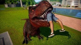 T Rex Vs Giganotosaurus Vs Spinosaurus Breakout & Fight - Jurassic World Evolution