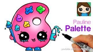 How to Draw a Cute Paint Palette   Shopkins Pauline Palette