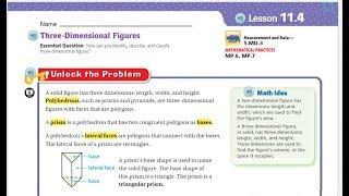 Go Math 5th Grade Lesson 11.4 Three Dimensional Figures