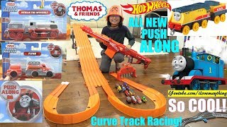 NEW Thomas and Friends Trackmaster Push Along James, Flynn and Merlin. Hot Wheels Curve Track Race!