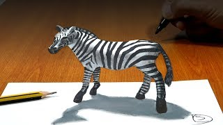 How to Draw Zebra, 3D Drawing Trick Art On Paper
