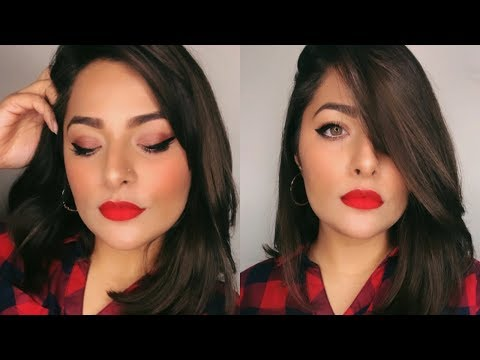 Glam Makeup BOLD RED LIPS | Glitter Eyes | Anubha