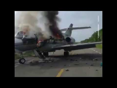 Suspected drug cartel plane SET ON FIRE after being forced to land in Mexico