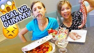 😱  REAL FOOD VS. GUMMY FOOD 😱 GROSS CHALLENGE 😱