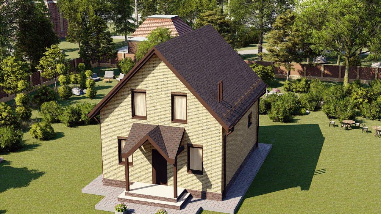 Проект небольшого дома с мансардой из газобетона 9х7