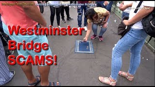 Tourists Getting Scammed On Westminster Bridge London - Three Cups Find The Ball Scam