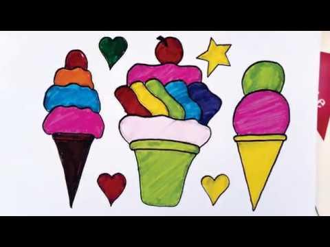 Cara Menggambar Dan Mewarnai Es Krim Untuk Anak Menggunakan Pensil