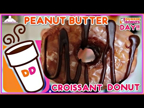 DUNKIN' DONUTS® PEANUT BUTTER DELIGHT CROISSANT DONUT REVIEW | DUNKIN DONUTS DAY!