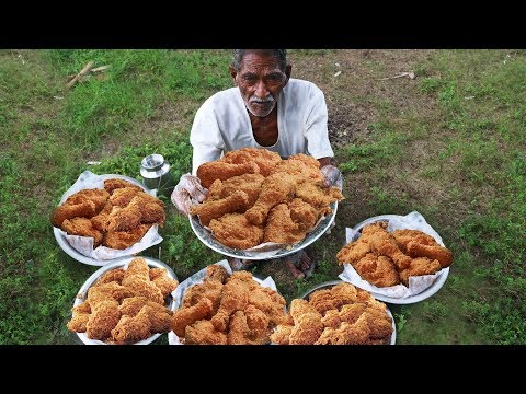 KFC Style Fried Chicken | KFC Crispy Spicy Fried Chicken Cooking by our grandpa for Orphan kids