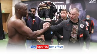 RESPECT! 👊  Dillian Whyte swaps fight shorts with Team Povetkin