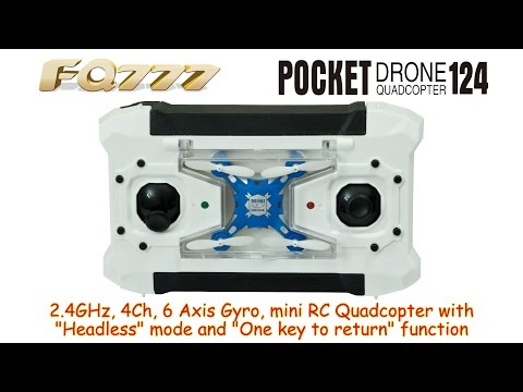 FQ777-124 Pocket Drone 2.4GHz, 4Ch, 6 Axis Gyro, RC Quadcopter with Headless mode (RTF)