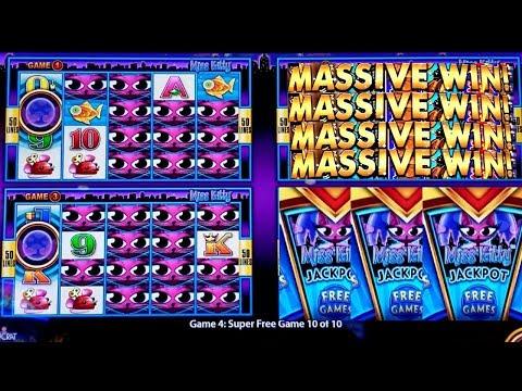 ★MEGA BIG WIN★ Wonder 4 Miss Kitty Slot  Super Free Games & Miss Kitty Jackpot | $10 Max Bet (видео)