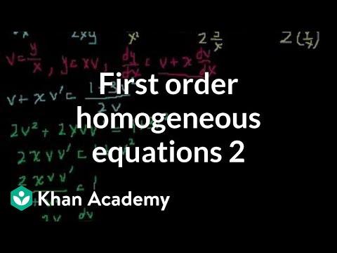 First order homogeneous equations 2 (video) | Khan Academy
