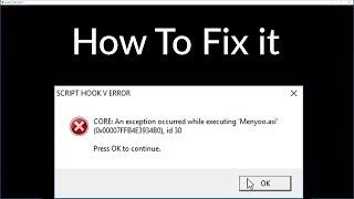 GTA 5 - How To Fix[ SCRIPTHOOKV Critical MENYOO Error ]PC Tutorial