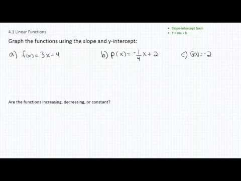 Graphing Linear Functions p1