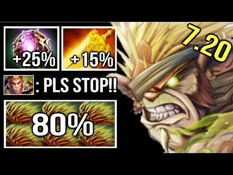 Epic -80% Damage 40% Lifesteal Pro Bristleback Rambo 1 Min Tower Dive Imba Combo ft Io 7.20 Dota 2