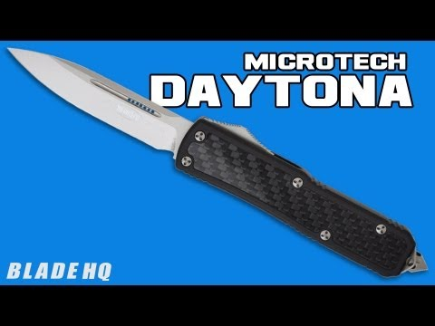 "Microtech Red Daytona D/A OTF D/E Knife Carbon Fiber (3.25"" Black Plain) 126-1RD"