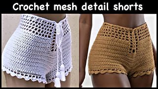Crochet Mesh Detail Lace Up Shorts
