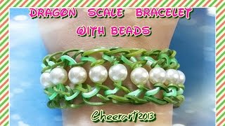 Diy Loom Bands Dragon Scale Bracelet With Beads彩虹橡筋手繩教學