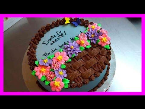 Muttertagskooperation - Buttercreme Blumenkorb Tortendeko - Buttercremeblumen Dekoration - Kuchenfee