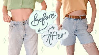 HOW TO Make MENS JEANS INTO SHORTS + RESIZE JEANS At The Waist | NO SEWING MACHINE | Thrift Flip