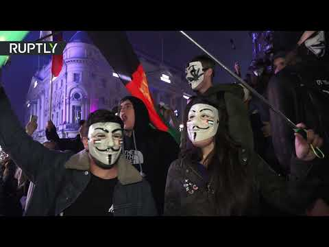 RAW: Anonymous descend on London for 'Million Mask March'