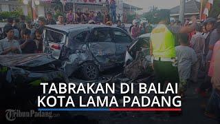 BREAKING NEWS: Tabrakan di Balai Kota Lama Padang, Empat Mobil Penyok Dihantam Pajero Sport