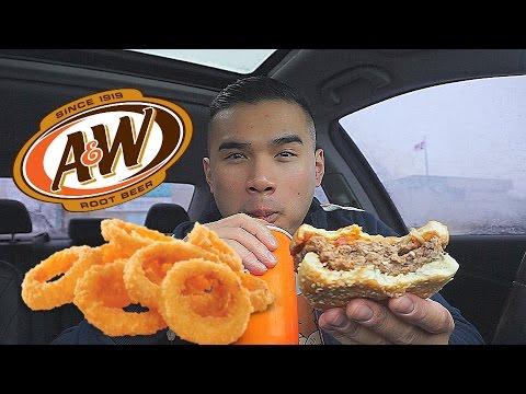 QT  A&W Burger & Onion Rings Review   MUKBANG