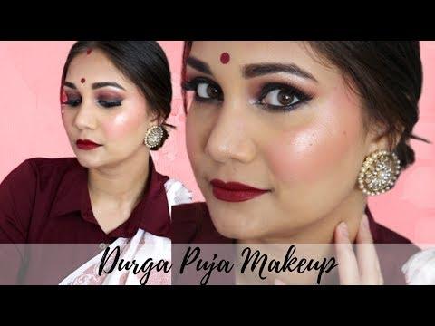 Durga Puja Makeup | Traditional Bengali Makeup Look | Easy & Glowy Brown Smoky Eyes for beginners