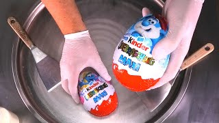 kinder Surprise Eggs MAXI - Ice Cream Rolls | how to make Ice Cream with Smurfs Surprise Egg | ASMR