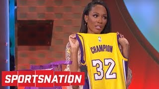 Josh Hart gives Cari Champion some Lakers gear after Marcellus' trolling | SportsNation | ESPN