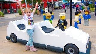 Влог Настя в парке развлечений для детей Леголенд с друзьями