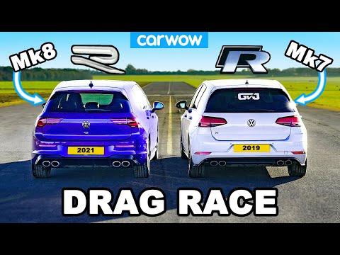 VW Golf R Mk8 v Mk7: DRAG RACE