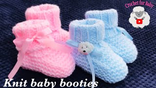 Easy Knit Baby Booties, Socks - How To Knit For Beginners 0-3 M Boy Or Girl Crochet For Baby 203